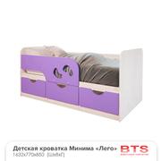 Кровать детская Минима Лего 1600 дуб атланта - лиловый сад