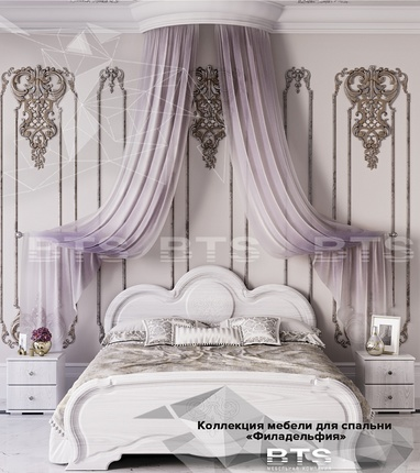Кровать 1600 Филадельфия КР-03 белый - белый бриллиант