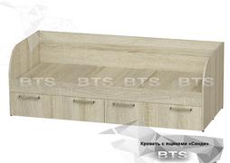 Кровать с ящиками Сенди КР-01 дуб сонома