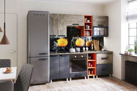 Модульная кухня серии Крафт МДФ дуб эндгрейн - бетон темный