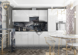 Модульная кухня серии Капля белый глянец