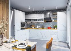 Модульная кухня угловая Скала мрамор арктик