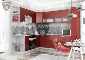 Кухня угловая Олива МДФ гранат металлик комплект 2,8х2,3м