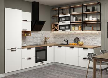 Модульная кухня угловая Ройс белый софт