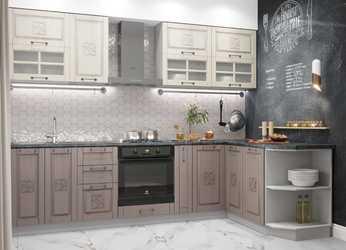 Модульная угловая кухня Тито 2,8м перламутр - капучино
