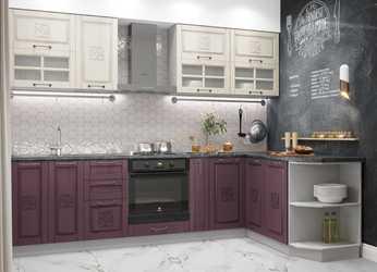 Модульная угловая кухня Тито 2,8м перламутр - пурпур