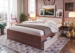 Кровать с ящиками Гармония 1,2 КР-606 ясень шимо темный - ясень шимо светлый