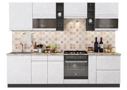 Модульная кухня Бруклин 2,8 м бетон белый - венге