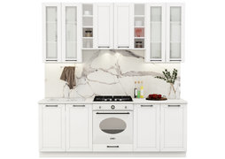 Модульная кухня Кёльн 2,2 м софт даймонд - белый