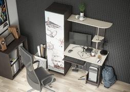 Стол компьютерный с фотопечатью КС-001 венге - дуб беленый