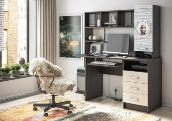 Стол компьютерный с фотопечатью КС-002 венге - дуб беленый