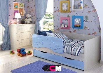 Кровать Алиса КР-813 1800 голубой металлик