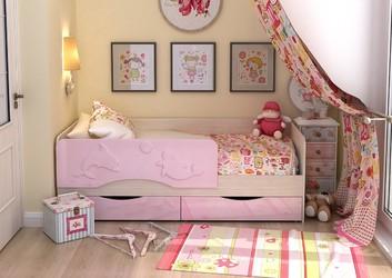 Кровать детская Алиса КР-813 1800 розовый металлик