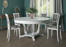 Стол обеденный Лотос-6 белый - патина серебро