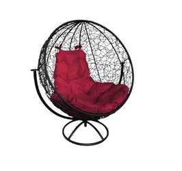 Кресло Круглое вращающееся с ротангом черное