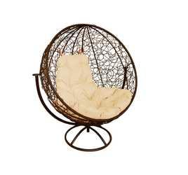 Кресло Круглое вращающееся с ротангом коричневое