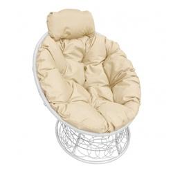 Кресло Папасан-мини с ротангом белое