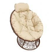 Кресло Папасан-мини с ротангом коричневое