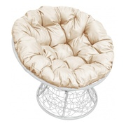 Кресло Папасан с ротангом белое