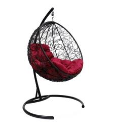 Подвесное кресло Круглое с ротангом черное