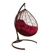 Подвесное кресло Капля с ротангом коричневое