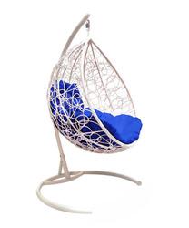 Подвесное кресло Капля с ротангом белое