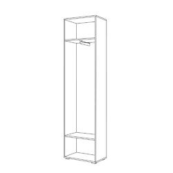 Шкаф для одежды Лайн 08.122 дуб крафт серый - белый глянец