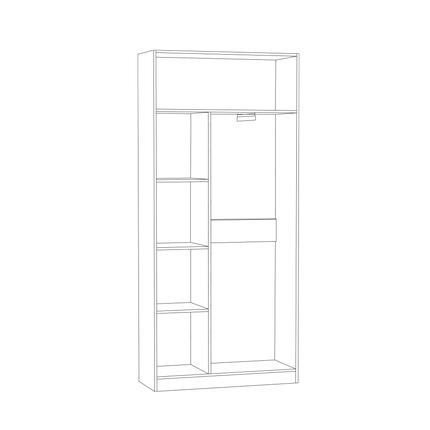 Шкаф для одежды Ливерпуль белый - ясень ваниль