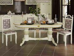 Стол обеденный Верона-К белый - патина золото