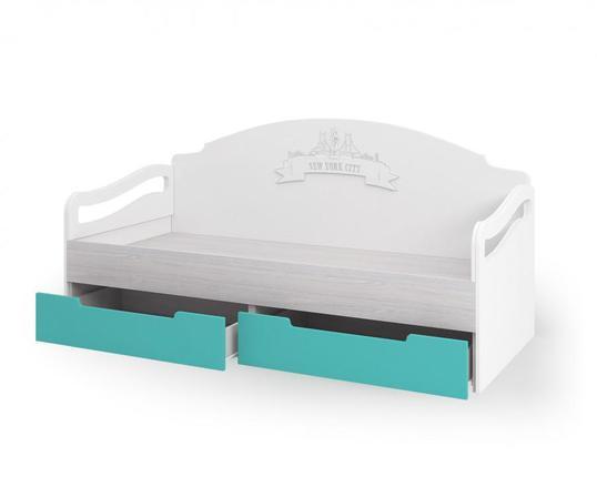 Кровать с ящиками Миа КР-051 дуб анкор - бирюза