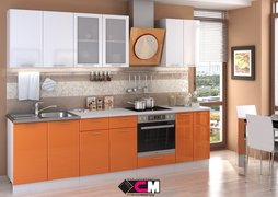 Кухня Ксения МДФ белый - оранж комплект 2,8м