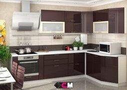 Кухня угловая Ксения МДФ ваниль - шоколад комплект 2,9х1,7м