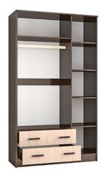 Шкаф комбинированный с зеркалом Лагуна венге - дуб молочный