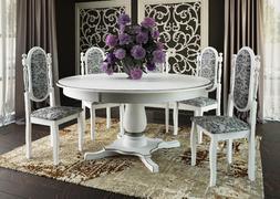 Стол обеденный Турин-6 белый - патина серебро