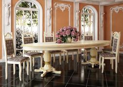 Стол обеденный Юбилейный слоновая кость - патина золото